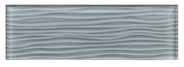 Crystile Cascades - C07-W Gray Sky - 4X12 Wavy Subway Glass Tile Plank - Glossy - SAMPLE