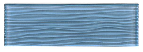 Crystile Cascades - C09-W Blue Sea Foam - 4X12 Wavy Subway Glass Tile Plank - Glossy