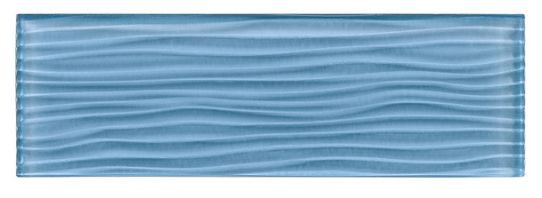 Crystile Cascades - C10-W Pacific Ocean - 4X12 Wavy Subway Glass Tile Plank - Glossy