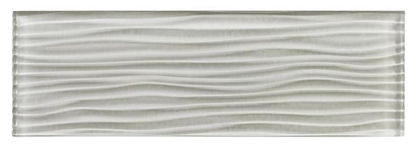 Crystile Cascades - C11-W Morning Mist - 4X12 Wavy Subway Glass Tile Plank - Glossy - SAMPLE