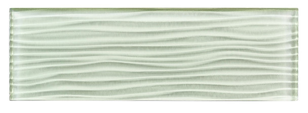 Crystile Cascades - C15-W Ocean Spray - 4X12 Wavy Subway Glass Tile Plank - Glossy