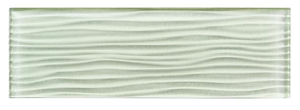 Crystile - C15-W Ocean Spray - 4X12 Wavy Subway Glass Tile Plank - Glossy - SAMPLE