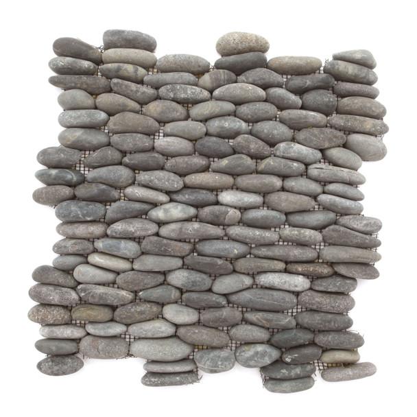 Stacked Standing River Rock Pebble Stone - Swarthy Black Horizontal Calades - Interlocking Sheet