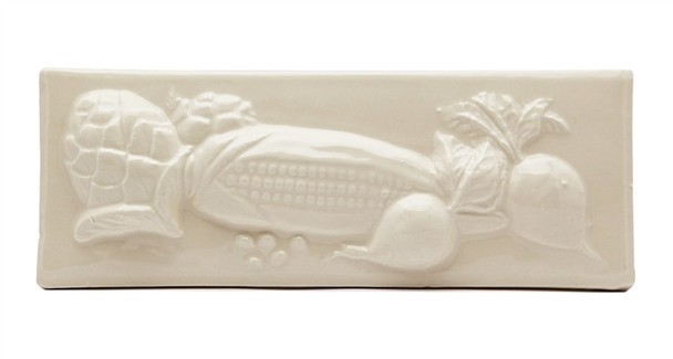 """Porcelanosa - L Antic Colonial - 3"""" X 8"""" Artichoke Corn Beets Vegetable Relief Handcrafted Listello - Cream / Almond - Color Glazed Hand Craft Tile"""