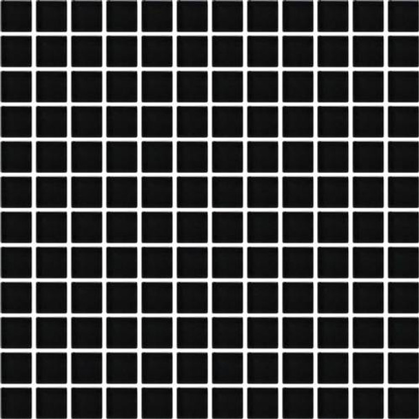 Daltile Color Wave Glass - CW20 Midnight Black - 1 X 1 Dal Tile Glass Tile - Glossy - Sample