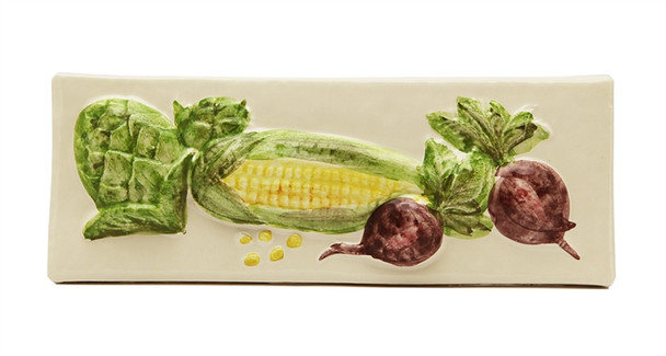 """Porcelanosa - L Antic Colonial - 3"""" X 8"""" Artichoke Corn Beets Vegetable Relief Handcrafted Listello - Cream / Almond - Painted Glazed Hand Craft Tile"""
