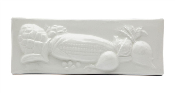 """Porcelanosa - L Antic Colonial - 3"""" X 8"""" Artichoke Corn Beets Vegetable Relief Handcrafted Listello - White - Color Glazed Hand Craft Tile"""
