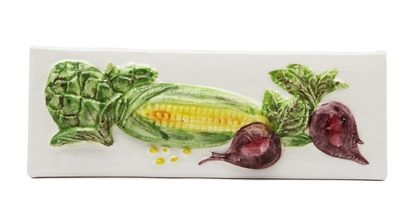 """Porcelanosa - L Antic Colonial - 3"""" X 8"""" Artichoke Corn Beets Vegetable Relief Handcrafted Listello - White - Painted Glazed Hand Craft Tile"""
