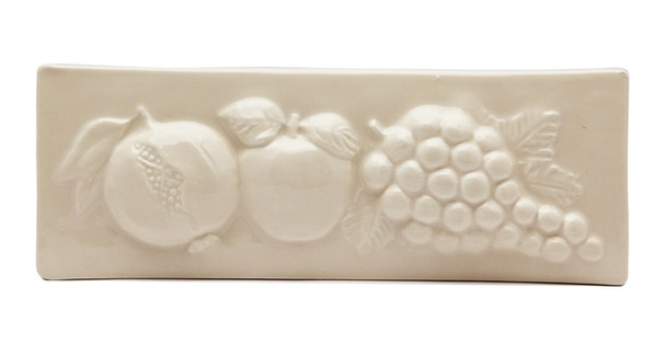 """Porcelanosa - L Antic Colonial - 3"""" X 8"""" Pomegranate Apple Grape Fruit Relief Handcrafted Listello - Cream / Almond - Color Glazed Hand Craft Tile"""