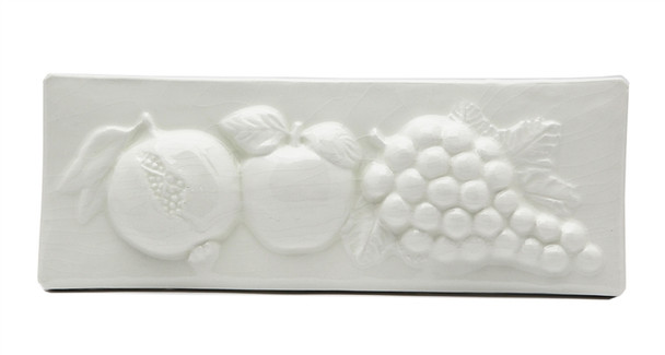 """Porcelanosa - L Antic Colonial - 3"""" X 8"""" Pomegranate Apple Grape Fruit Relief Handcrafted Listello - White - Color Glazed Hand Craft Tile"""