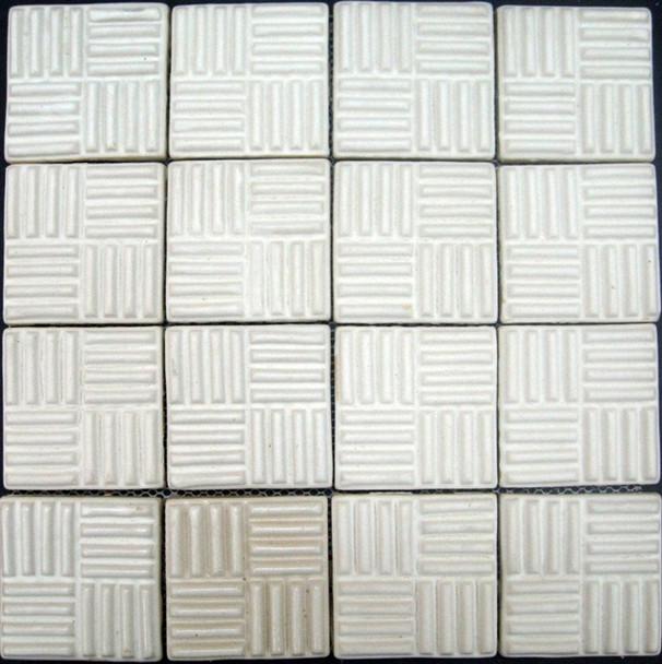 Bristol Studios - Dots & Decos - G2794 Cube Cream - Hand Crafted Contoured Decorative Mosaic Tile - $9.99