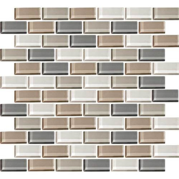 Daltile Color Wave Glass - CW21 Willow Waters Blend - 1 X 2 Brick Subway Dal Tile Glass Tile - Glossy - Sample