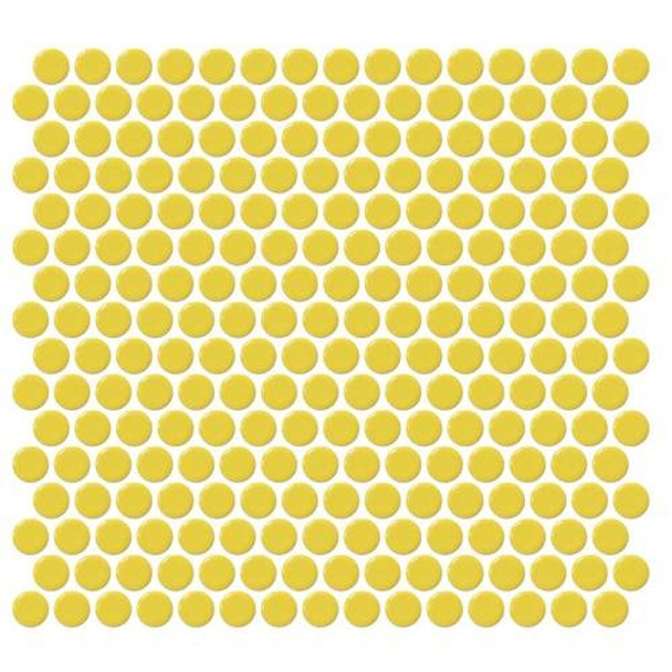 Daltile Fanfare Retro Rounds - RR07 Daffodil Yellow - 1 inch Penny Round Glazed Porcelain Mosaic Tile - Gloss Finish - Sample