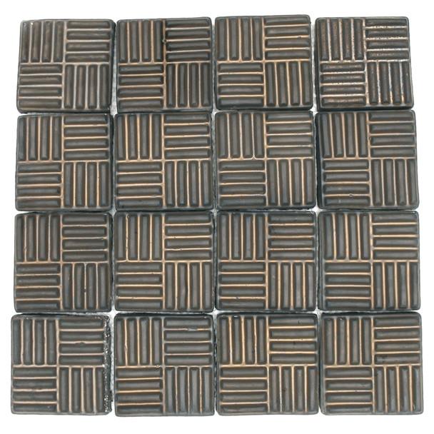 Bristol Studios - Dots & Decos - G2796 Cube Bronze - Hand Crafted Contoured Decorative Mosaic Tile - $9.99