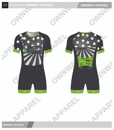 TRI FIT SHORT SLEEVE PRO TRI SUIT- GREEN