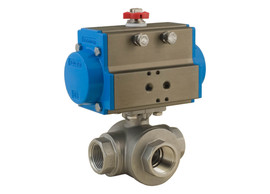"3/4"" Bonomi 8P0144 - 3 Way, Stainlesss Steel, L-Port, Ball Valve with DA Actuator"