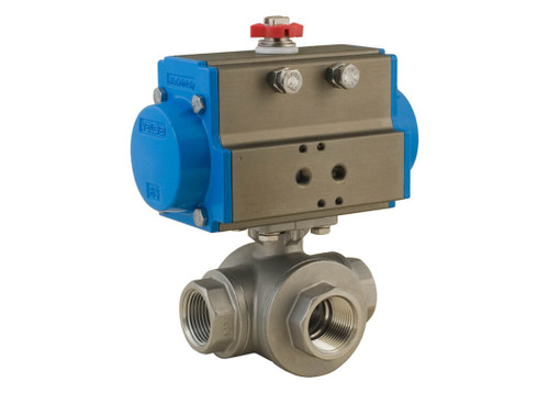 "1/4"" Bonomi 8P0144 - 3 Way, Stainlesss Steel, L-Port, Ball Valve with DA Actuator"