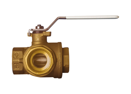 "1"" Bonomi 365N LF - 3 Way, Lead Free Brass, L-Port, FNPT, Direct Mount, Ball Valve"