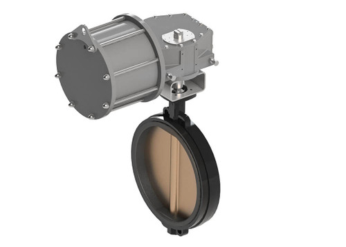 """18"""" Max-Air 180-050-262-D8230-MA - Wafer Style Butterfly Valve, Automated, Epoxy Coated Ductile Iron Body, Ductile Iron Nickel Plated Disc, EPDM Seat"""