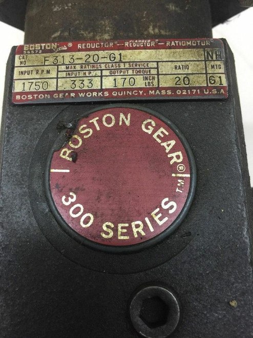 300 Ratio Motor/Flanged Reductor/Reductor F313-20-G1 Boston Gear Input RPM 1750