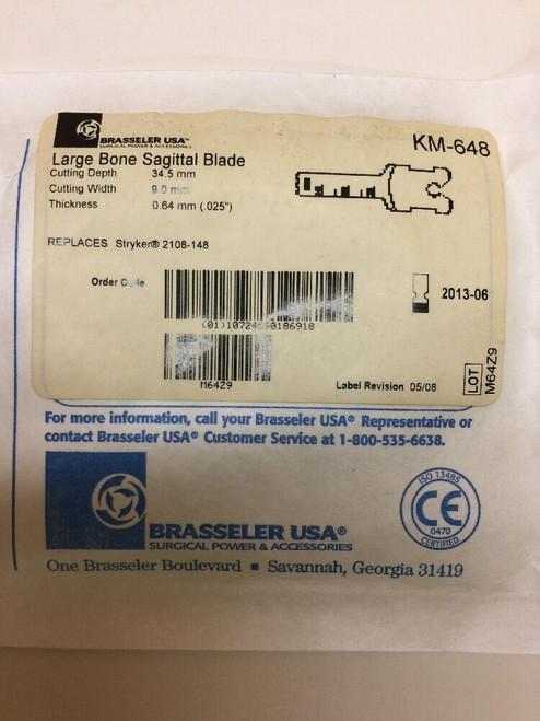 Large Bone Sagittal Blade KM-648 Brasseler Medical Sealed Sterile