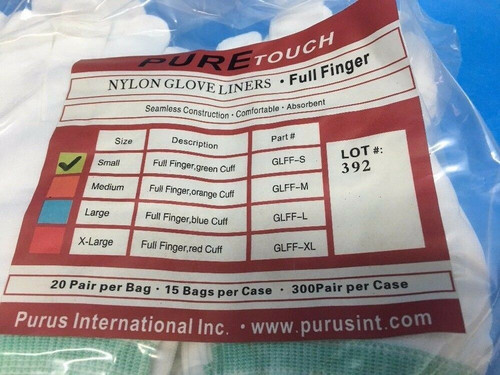 PURE Touch Nylon Glove Liners GLFF-S Purus Small Lot of 20