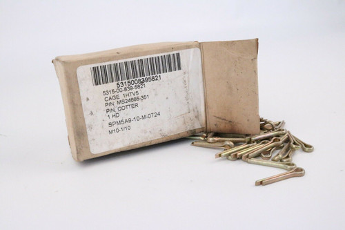 """Cotter Pin MS24665-351 1/8"""" x 1"""" Inch Steel Box of 100"""