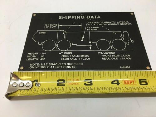 Shipping Data Identification Plate 1454250 Oshkosh Black Inscription