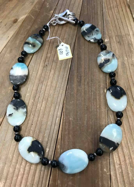 Gorgeous Amazonite, Onyx and Sterling Silver Necklace
