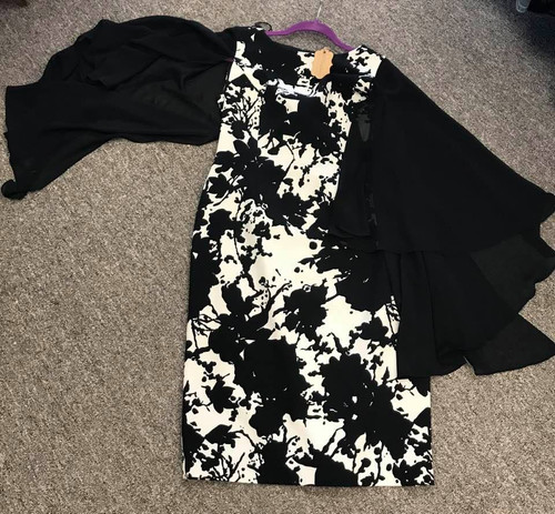 Adrianna Papell Black and White Floral Dress