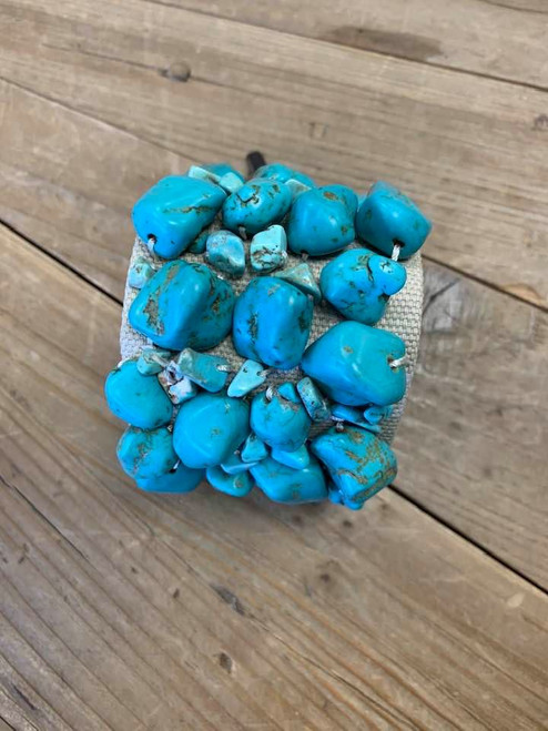 Large Chunk Turquoise, Leather and Canvas Bracelet