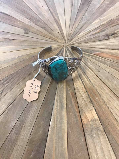 Large Handcrafted Turquoise and Sterling Silver Bracelet