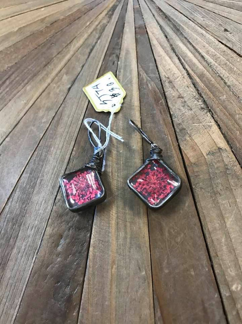 Artisan Handcrafted Earrings with Dried Flower Petals