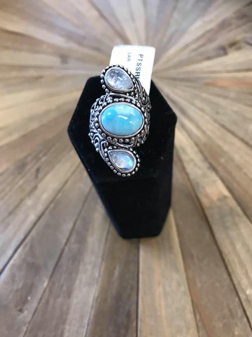 Larimar, Moonstone and Sterling Silver Ring, Size 7