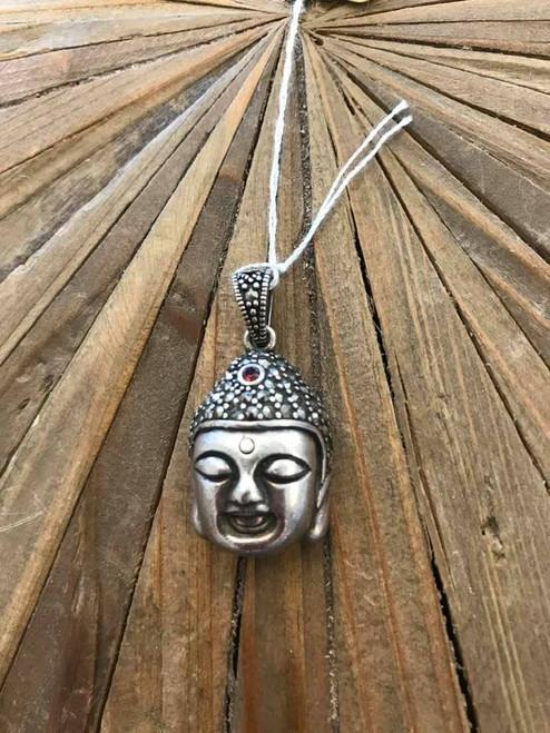 Silver Buddha Pendant with Garnet