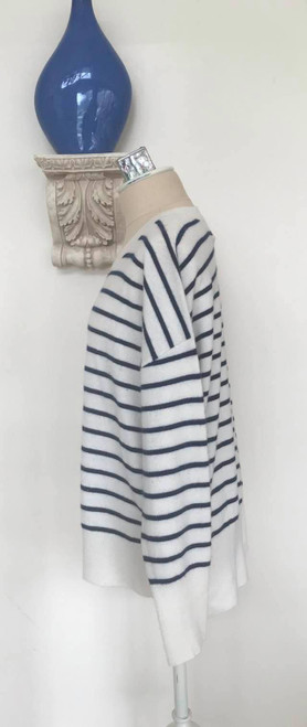 Cynthia Rowley 2 Ply Striped Cashmere Sweater, Black and White, Size Large