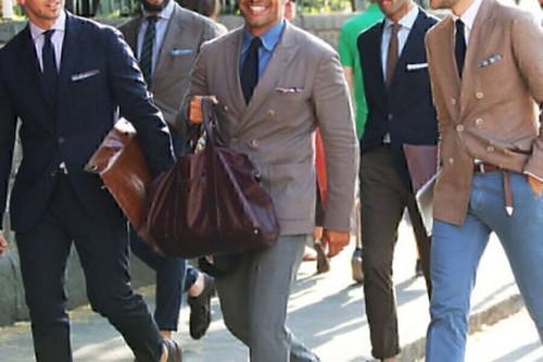Mens Suit by Bigsby & Kruthers, Grey Pinstripe, Wool, 42R Jacket, 32W Pants
