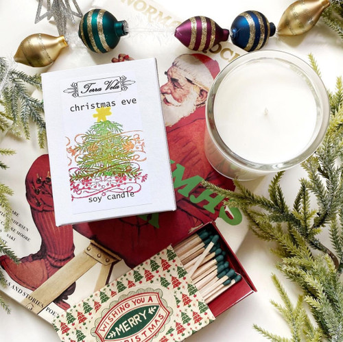 Christmas Eve Soy Candle. We have combined pine  and cinnamon bark  essential oils, with bayberry, tart cranberry, and orange zest fragrances to capture the essence of the warmth and traditions of Christmas Eve.