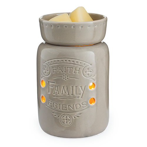 Wax Melter. Faith, Family, Friends Midsize Illumination - A mushroom colored glaze and reminder of what's most important make this warmer endearing to all.