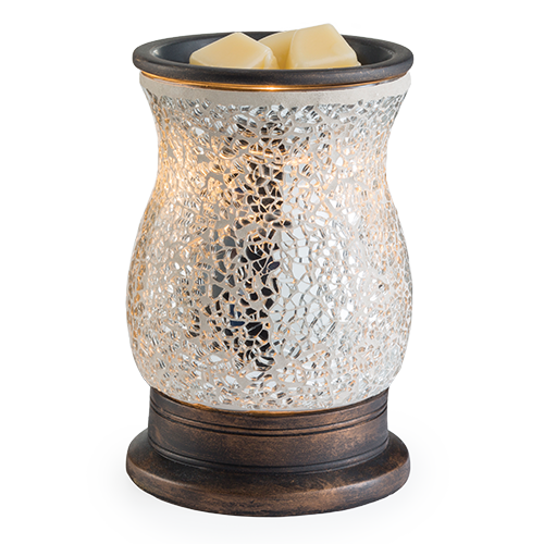 Wax Melter. Reflection Glass Illumination - The silver glass mosaic surface of this Illumination Warmer sparkles as it emits a soft glow. Dish is removable; includes warming bulb.