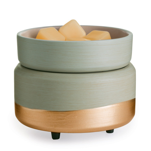Midas 2-in-1 Classic Fragrance Warmer - Clean and bold gold touches accent this gray-beige 2-in-1 Fragrance Warmer, which melts both wax melts in its beautiful dish and candles, 10 oz. and under on the warming plate. Simply add wax melts to the dish, or remove the dish and place the candle jar directly on the warming plate. Turn it on, and enjoy your favorite fragrance as it spreads through the room.