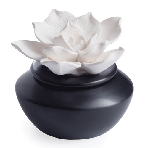A delicate Gardenia porcelain flower atop a shiny black glazed dish. Porcelain Essential Oil Diffusers can be filled with 100% pure essential oils, or with water and oil to diffuse fragrance the lasts 2 weeks or more. A porcelain botanical rests on a ceramic base to bring a natural beauty to your space as you enjoy the aromatherapy benefits of 100% pure essential oils.