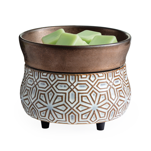 Bronze Geometric 2-in-1 Classic -  2-in-1 Fragrance Warmer, which melts both wax melts in its beautiful dish and candles, 10 oz. and under on the warming plate. Simply add wax melts to the dish, or remove the dish and place the candle jar directly on the warming plate. Turn it on, and enjoy your favorite fragrance as it spreads through the room.