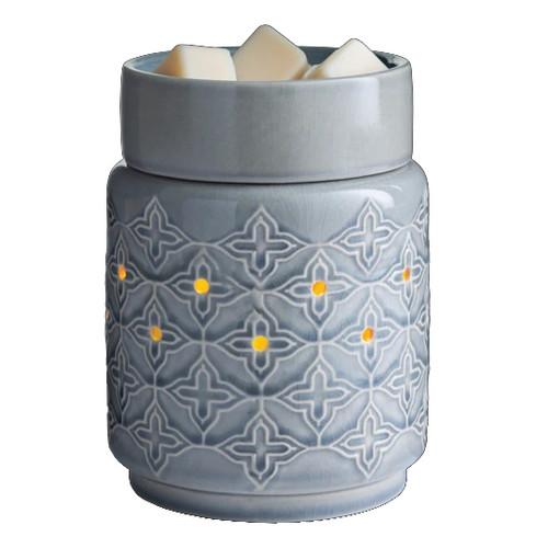Jasmine Illumination Wax Melter. A quatrefoil pattern pops against a simple shape and grey crackle glaze.