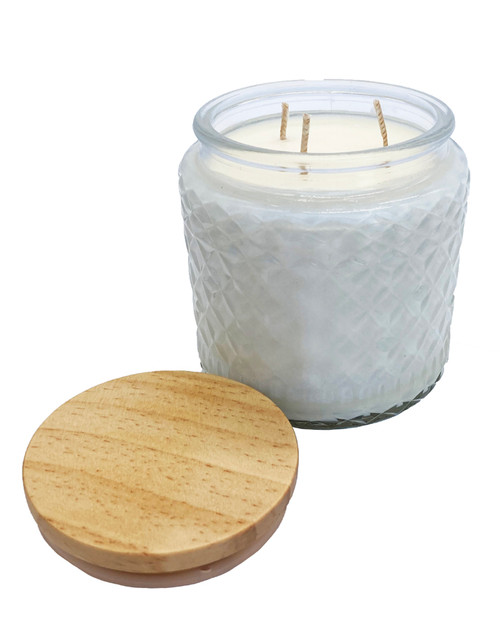 16oz three wick candles with Bamboo Tops.