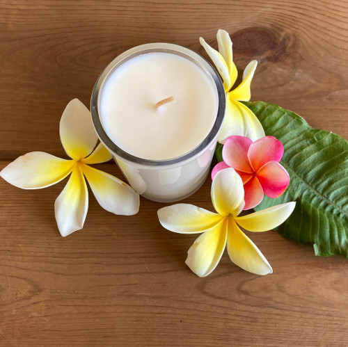 Plumeria Soy Candle Natural soy wax candle, hand poured in small batches. An artisan soy wax candle of the highest quality.