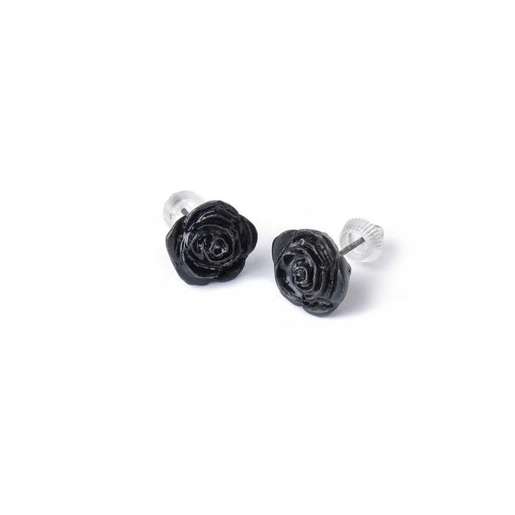 E339 - Black Rose Stud Earrings