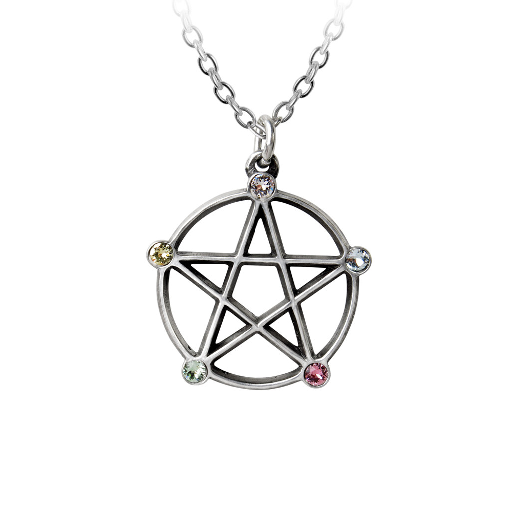 P786 - Wiccan Elemental Pentacle Necklace