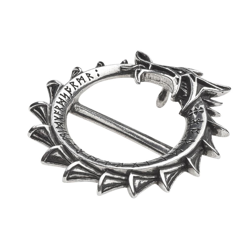 Alchemy Gothic Norse Serpent Circle Jormungard Rune Black Pewter Pendant