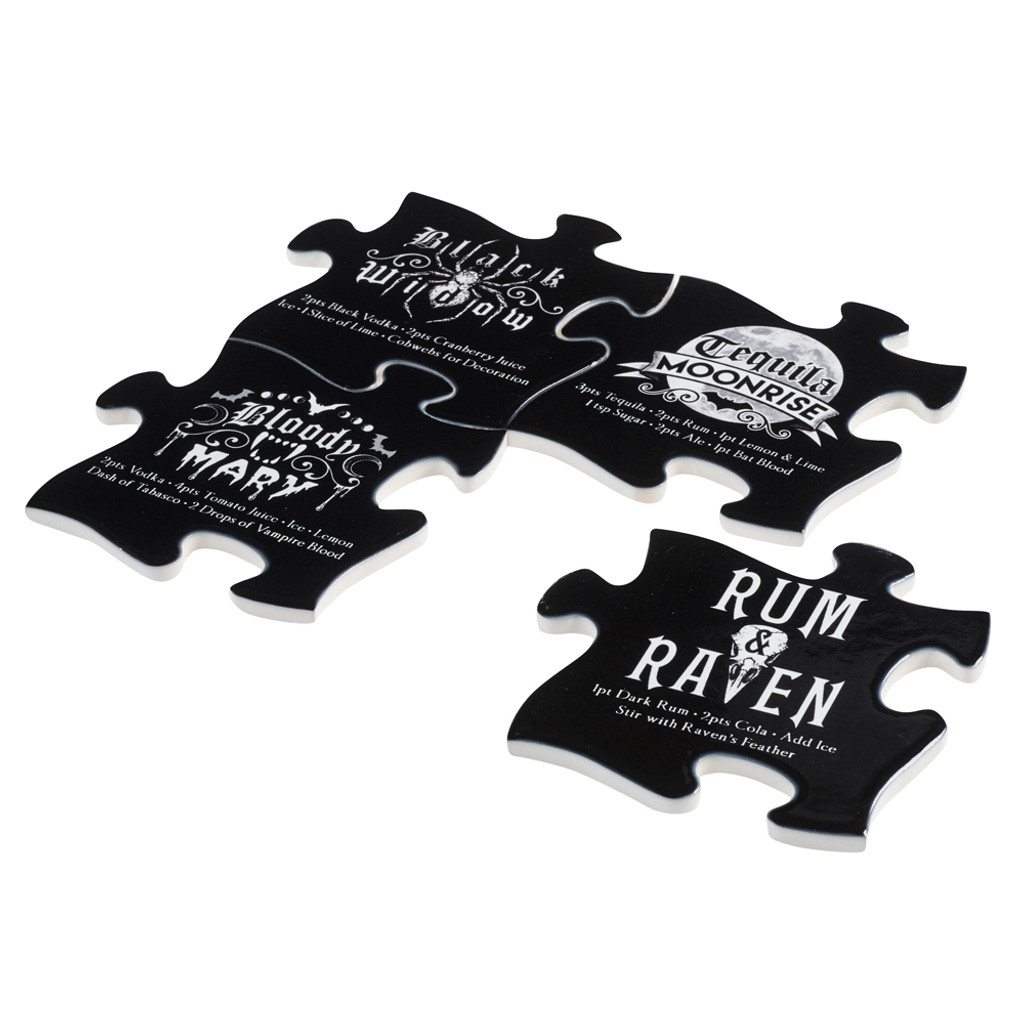Gothic Cocktail Alchemy England Set of 4 Jigsaw Ceramic Coasters